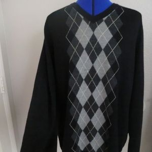 MERONA Size XXL 100%Merino Wool Black Gray Sweater